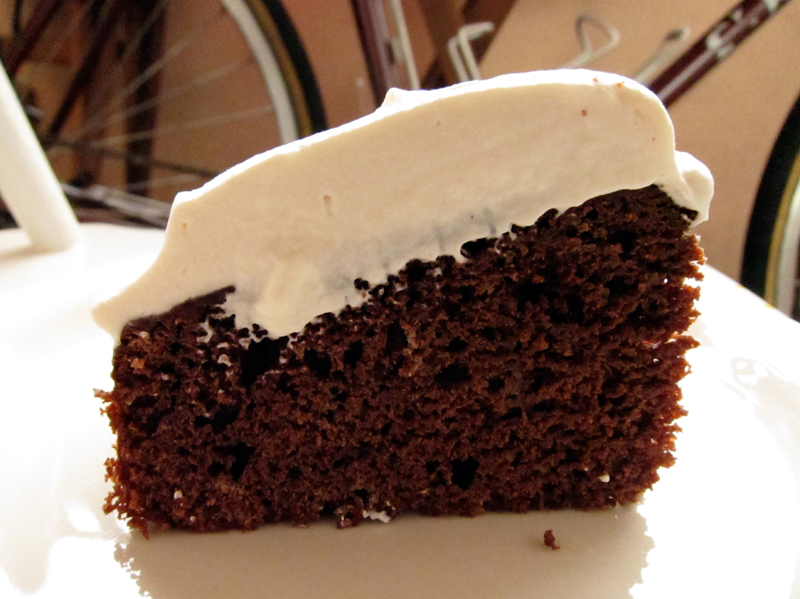 """root beer cake topped with """"root"""" cream 