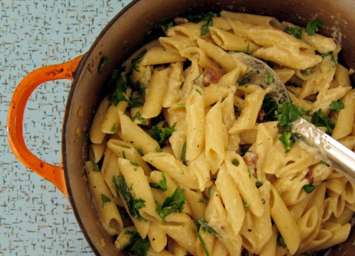 carbonara in the pot