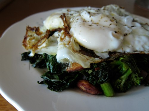 sauteed greens with fried eggs