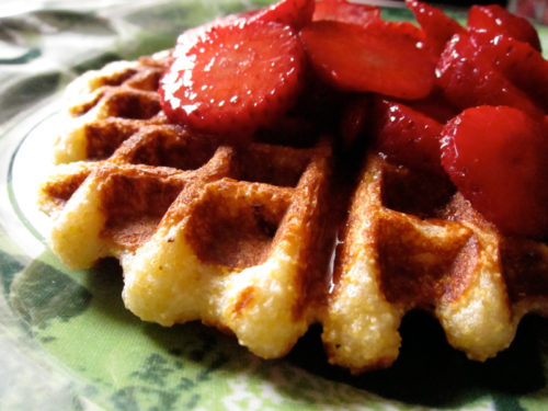 vegan lemon cornmeal waffles
