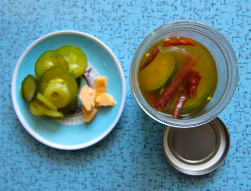 freezer pickles, yum!