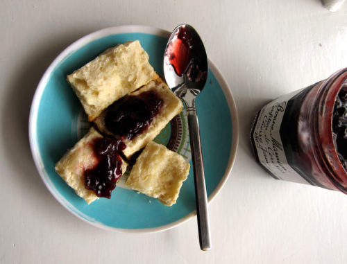 flakey biscuits with jam
