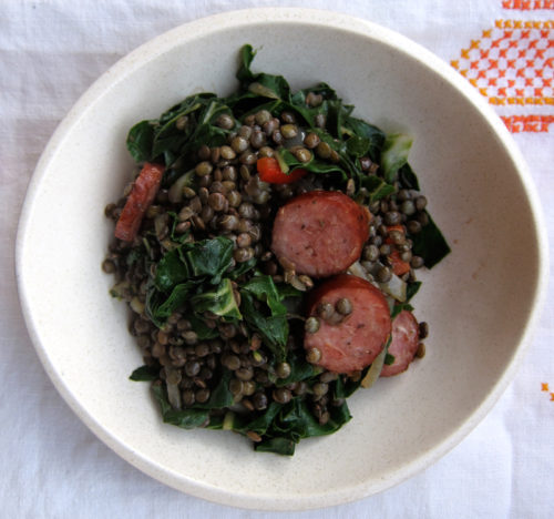 lentils with kale, fennel & sausage