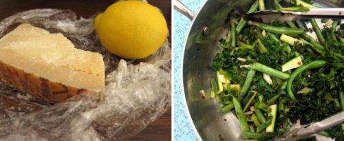 spicy lemon parmesan green beans, kale & zucchini