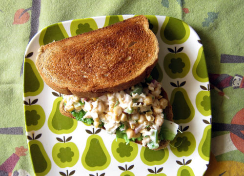 smashed chickpea lemon salad sandwich