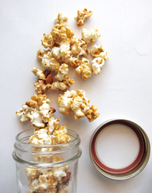 spiced caramel corn with pepitas, almonds & nuts