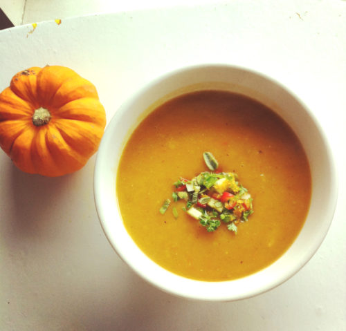 spicy winter squash soup with apples & gremolata