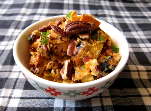 sweet potato salad with cranberries & pecans