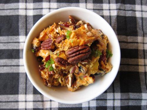 sweet potato salad with cranberries & pecans