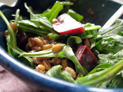 farro & arugula salad with beets