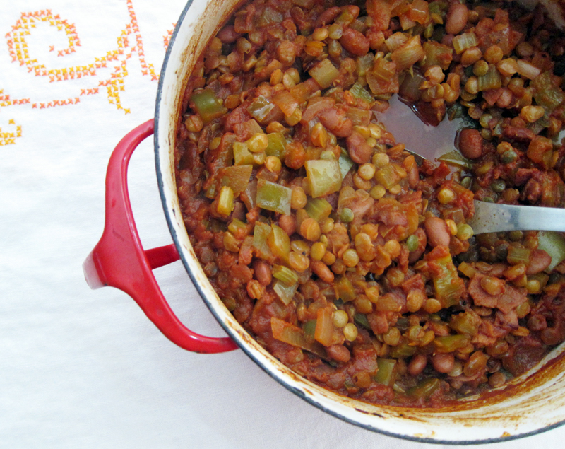 Sticky Baked Lentils Pinto Beans