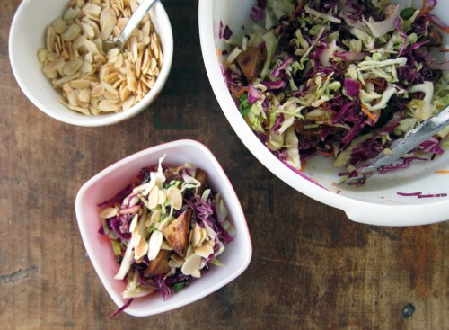 chopped miso slaw with tofu