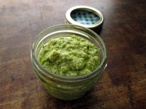 arugula & garlic scape pesto from everybody likes sandwiches