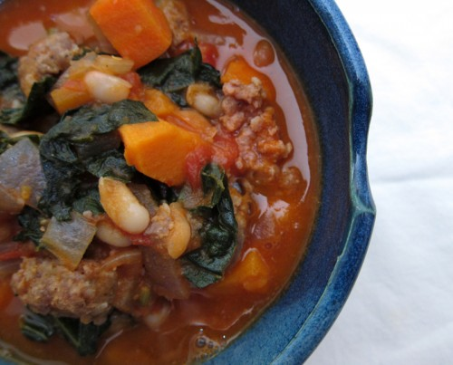 white bean, sweet potato, & kale stew (with sausage) | everybody likes sandwiches