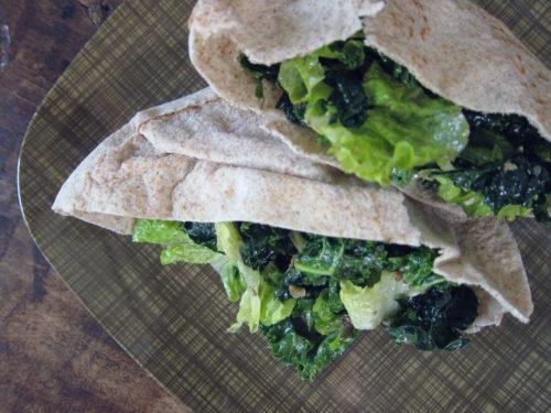 garlicky-kale stuffed pita sandwiches | everybody likes sandwiches