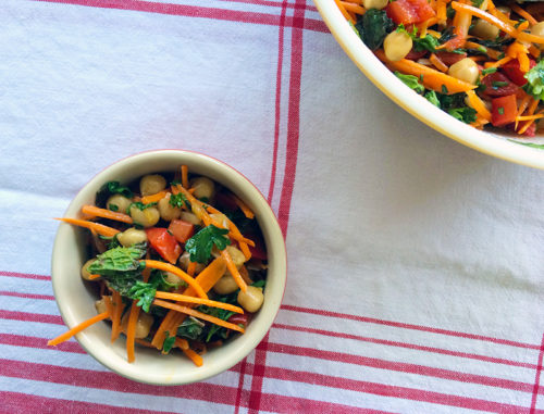 the perfect picnic salad: chickpea & vegetable salad with mint and a lemon-cumin vinaigrette | everybody likes sandwiches